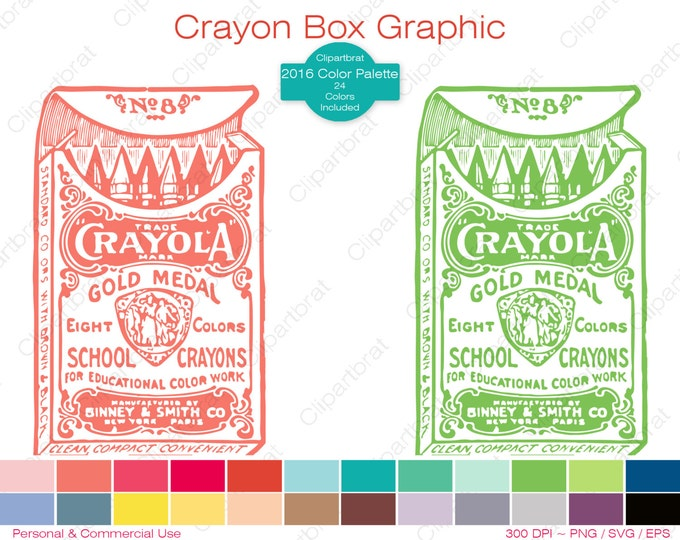 VINTAGE CRAYOLA CRAYONS Clipart Commercial Use Clipart Crayon Box Graphic 2016 Color Palette 24 Colors Vector Graphic Sticker Png Eps Svg