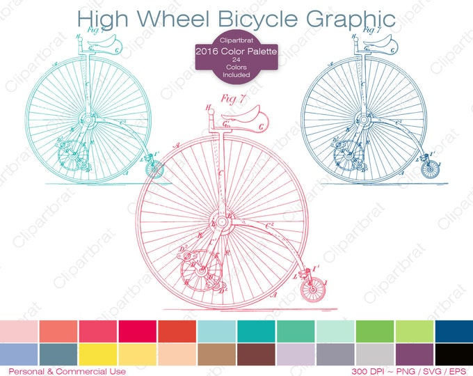 HIGH WHEEL BICYCLE Clipart Commercial Use Clipart Bicycle Graphic 2016 Color Palette 24 Colors Antique Bike Vector Graphic Stamp Png Eps Svg