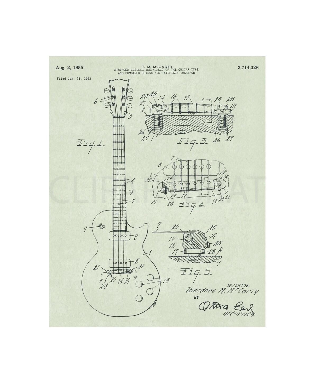1955 Gibson Les Paul Printable Art Print Instant Download