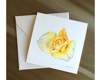 Marion Yellow - Watercolor Rose Fine Art Note Card