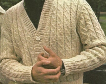 Mens  Irish Knit Cardigan Sweater v-neck buttoned front with pockets jumper tunic  vintage style instant download pdf