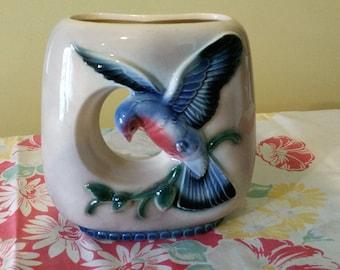 Royal Copley double vase with bluebird - mid century