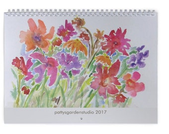 Wall Calendar 2017, 11 x 8.5 or  14.5 x 11.2 Floral Calendars, Watercolor Design, Floral Watercolor Design