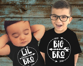 Set of 2 Big Bro Shirt and LiL Bro Shirt Set Big Brother shirt and Little Brother Shirt Photo