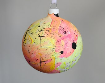 Hand Painted Ceramic Bauble // Pink, Yellow and White // God Colours Collection 019 // Christmas Decoration // Ornament