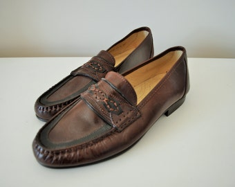 Vintage Mens Loafers / Dark Brown / Womens / Leather / Dress Shoes / Made in Italy / Classic / Penny / Oxfords / Size US 8, Europe 41