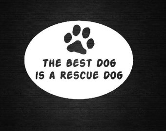 Rescue Dog Vinyl Car Decal, Rescue Dog Decal, Rescue Dog computer decal, Rescue Dog Sticker