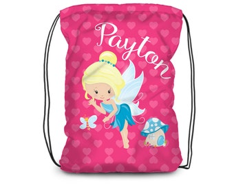Personalized Fairy Drawstring Backpack - Girl Fairy Bag, Pink Hearts Blue Fairy Princess Backpack, You Pick Girl - Kids Personalized Gift