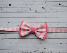 Baby Boy Bow Tie ~ Pink Plaid Baby Bow Tie ~ Valentines Day Boys Outfit - Easter Sunday Baby Boy Bow Tie
