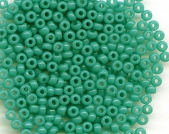 11/0, Turquoise Green 412D, Japanese Glass Seed Beads 28g.