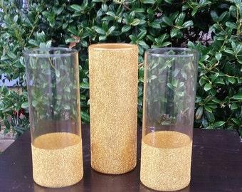 """3-  9"""" Gold Glitter Cylinder Vases"""
