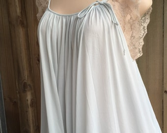 Vintage Blue W/ Ecru Lace Long Nylon Wide Sweep Nightgown by KOMAR sz M L
