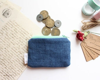 Mini Pouch, Coin Purse, Colourful Pouch, Zipper Pouch, Cotton Pouch - Blue