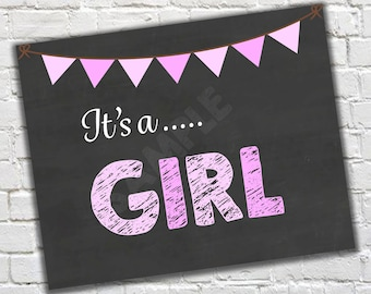 It's a girl, Gender Reveal, New Baby Sign, Baby girl sign, Baby shower girl sign, Baby announcement
