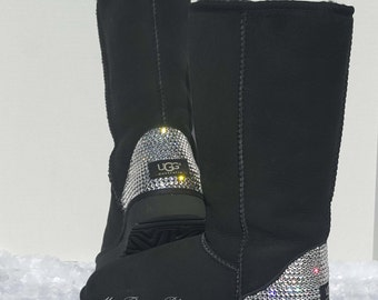 UGG'S Classic Tall ll Boots with Swarovski Crystals - Black