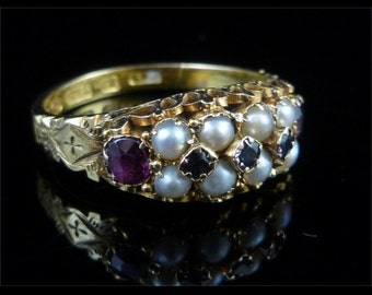 Victorian 15ct Ring Almandine Garnet & Pearl Dated 1881