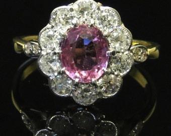 Antique Victorian Pink Sapphire & Diamond 18ct Gold Ring