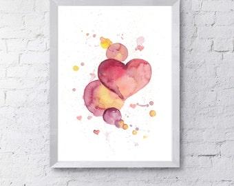 Watercolor Art Print, Heart, Love, Wall Art, Home Decor, Nursery Art