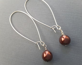 Mocha Pearl Long Drops . Earrings