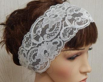 White lace headband, vintage womens hairband, gift for women, stretch lace head band, white headbands