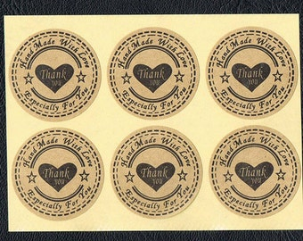 "Over 100 Natural Kraft paper thank you 1 3/16"" sticker label Hand Made With Love"