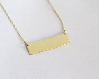Brass Bar Necklace / Simple Bar Necklace / Minimalist Layering Necklace