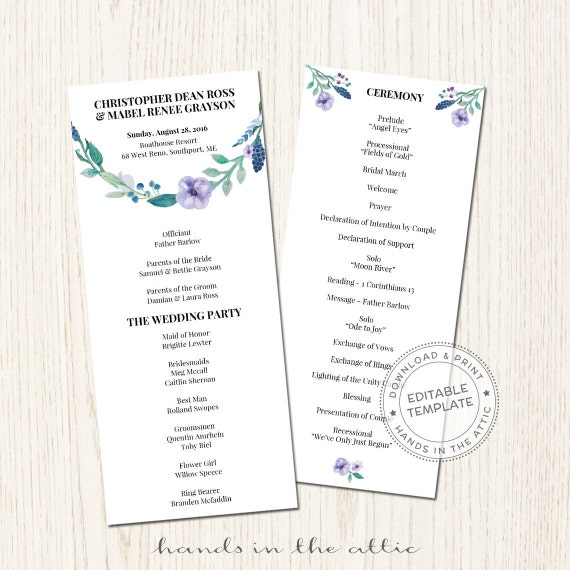 Blue Floral Wedding Program Template Printable Ceremony Schedule