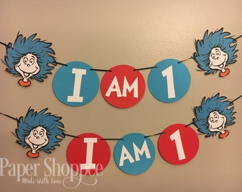Thing one or thing two dr suess high chair banner