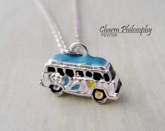 Vintage Van Necklace - Old Volkswagon Inspired 60s Van - Hippie Bus Charm - Antique Silver Jewelry