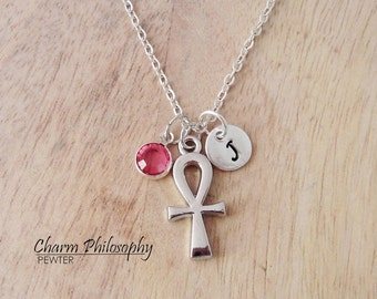 Egyptian Ankh Necklace - Silver Jewelry - Monogram Initial and Personalized Birthstone
