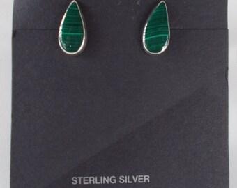 Malachite and Sterling Silver Teardrop Post Earrings .925