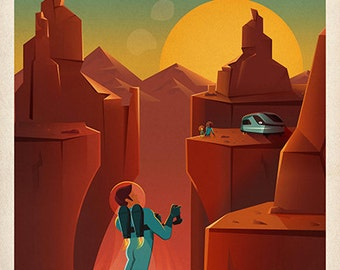Valles Marineris - Land of Martian Chasms and Craters.  NEW!  SpaceX Mars Travel Giclee Reproduction Poster
