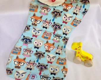Fox and Owl and Squirrel Burp Cloth