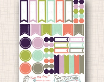Functional Planner Stickers   Sensible Shapes Sampler   Gertie Palette   54 Stickers Total   #SS09GERTIE