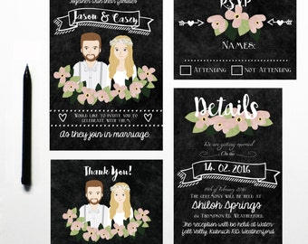 Custom Illustrated Wedding Invitation