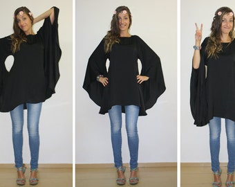 Oversized tunic, Plus size top, Black tunic dress, Party tunic, Boho tunic dress, Cover up, Batwing top