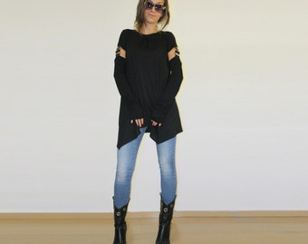 Black tunic, Asymmetric tunic, Fingerless long gloves, Two parts tunic, Party top