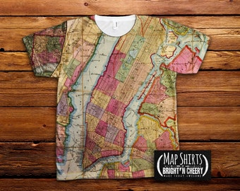 Vintage New York City Map TShirt, NYC MapShirt, Manhattan Map, Historic New York map, old school new york city,