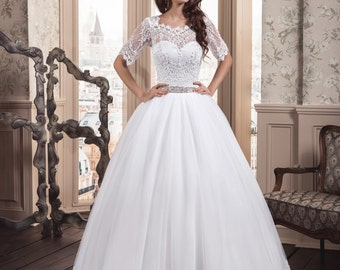 Elegant White/Ivory Wedding with Sleeves, Bridal Gown, Lovely Back, Lace Up ,Tulle,Ball Dress, Buy onl