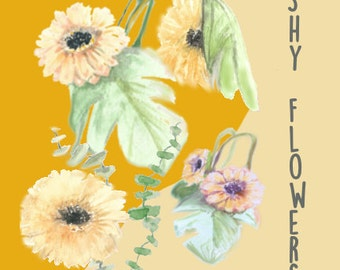 Hand Painted Water Color Clip Art - Shy Sun Flowers - Nature ClipArt, Scrapbooking, Flowers, Yellow, Spring, Beautiful