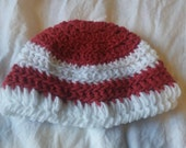 Babys first christmas hat, crochet baby hat,  crochet red and white hat, 1 to 3 month baby hat, baby boy hat, baby girl hat, christmas hat