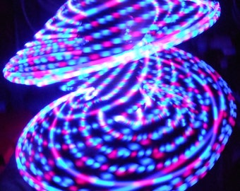 Pegasus LED Hula Hoop - 20 Pink/Blue Strobe and Ribbon LEDs - Rechargeable Li-Ion