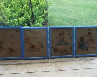 Four Very Vintage Nursery Pictures?Plastic Frames