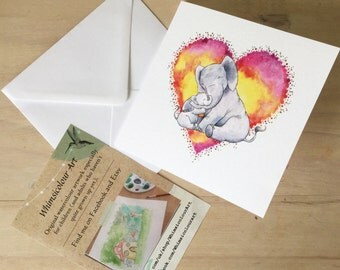 Elephants Greetings Card - 145mm x 145mm