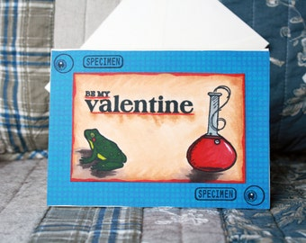 """Hand made """"Be my valentine"""" science wish card"""