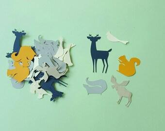 Woodland party - Woodland Confetti - 120 pieces- paper confetti-deer-raccoon-squirrel-Bird-skunk