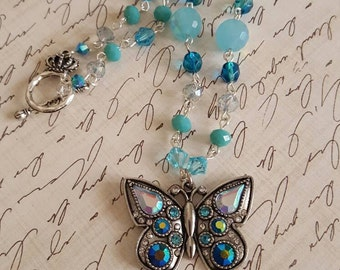 Handmade beaded crystal butterfly necklace