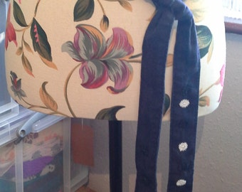 Upcycled navy cotton material belt embellished with white and black small lace flowers