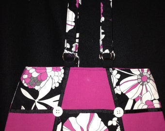 Pink floral smaller purse / makeup bag / small catch all