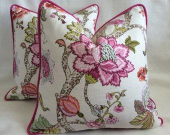 Floral Garden Designer Pillow Cover Set - Pink/ Natural Linen